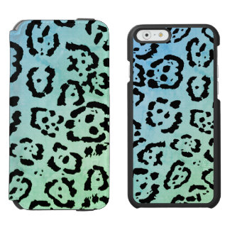 Blue Green Leopard Cat Animal Oil Paint Effect Incipio Watson™ iPhone 6 Wallet Case