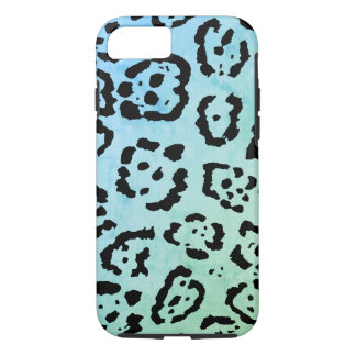 Blue Green Leopard Cat Animal Oil Paint Effect iPhone 8/7 Case