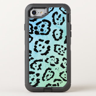 Blue Green Leopard Cat Animal Oil Paint Effect OtterBox Defender iPhone 8/7 Case
