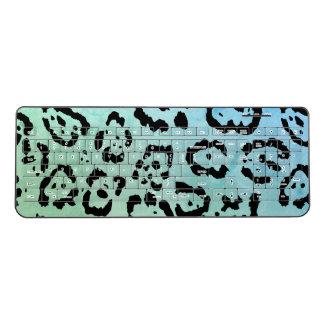 Blue Green Leopard Cat Animal Oil Paint Effect Wireless Keyboard
