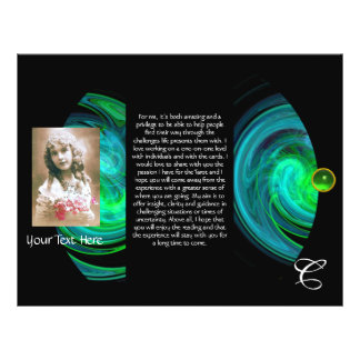 BLUE GREEN LIGHT VORTEX MONOGRAM Tri Fold Flyer