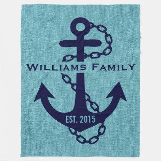 Blue-green Linen With Rustic Blue Wedding Anchor Fleece Blanket