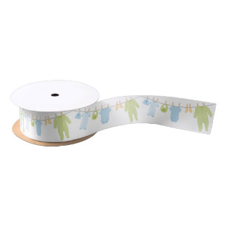 Blue & Green Little Clothes Baby Shower Satin Ribbon