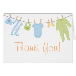 Blue & Green Little Clothes Baby Sprinkle Thank Card