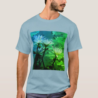 Blue & Green Lotus Waterlily T Shirt