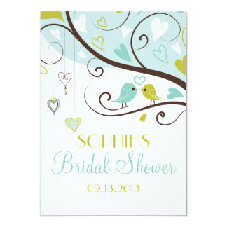 Blue & Green Lovebirds Bridal Shower Invitations