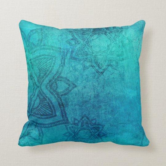 Blue Green Mandala Grunge Texture Throw Pillow. Throw Pillow