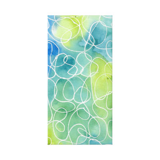 Blue & Green Marble Squiggle Canvas Print