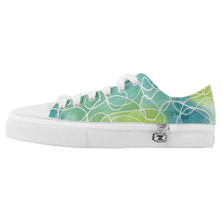Blue & Green Marble Squiggle Low-Top Sneakers