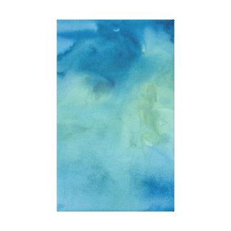 Blue & Green Marble Watercolour Canvas Print