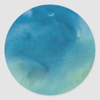 Blue & Green Marble Watercolour Classic Round Sticker