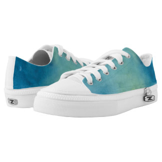 Blue & Green Marble Watercolour Low-Top Sneakers