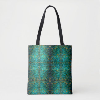 Blue Green Marbled Tote | Antique Book Design Gold