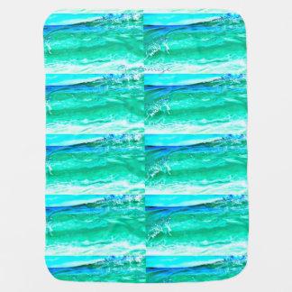blue/green maui wave pattern Thunder_Cove Stroller Blanket