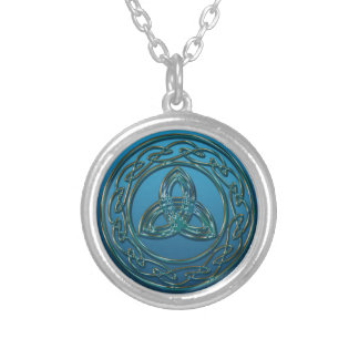 Blue Green Metal Celtic Trinity Knot and Circle Silver Plated Necklace