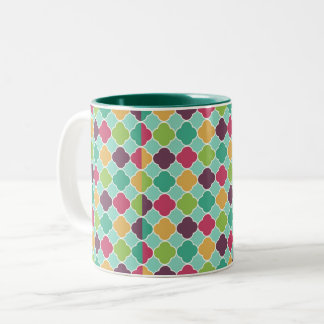 Blue Green Mixed Quatrefoil Two-Tone Coffee Mug