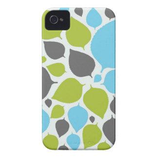Blue & Green Modern Leaves Case Mate iPhone 4 Case