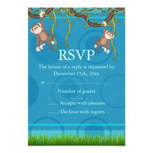 Blue & Green Monkey Fun RSVP Custom Announcements