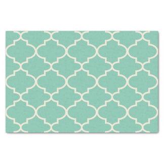 Blue-Green Moroccan Lattice Pattern Tissue Paper