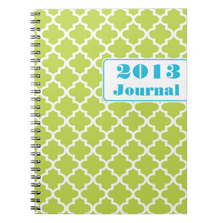 Blue green Moroccan tile trendy annual journal Note Books