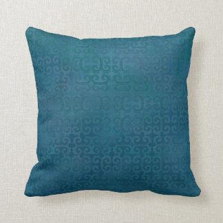 Blue Green Moroccan Tone on Tone Modern Pattern Throw Pillow