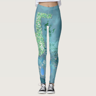 Blue & Green Music Notes Abstract Leggings