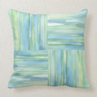 Blue green ocean squares watercolor abstract throw pillow