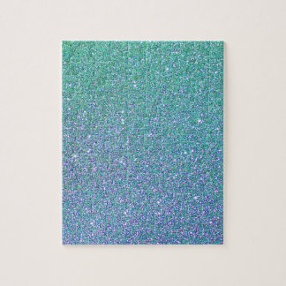 Blue Green Ombre Glitter Background Jigsaw Puzzle