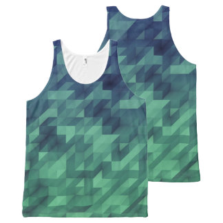 Blue & Green Ombre Watercolor Geometric All-Over-Print Tank Top
