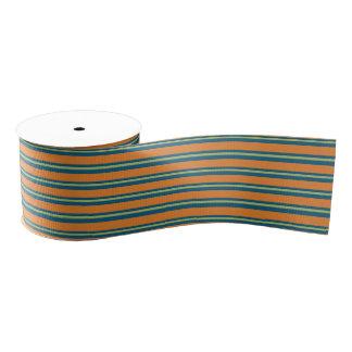 Blue Green Orange Stripe Ribbon Grosgrain Ribbon