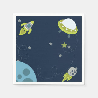 Blue Green Outer Space Kids Napkin Paper Napkins