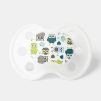 Blue & Green Owl Patterned Pacifier