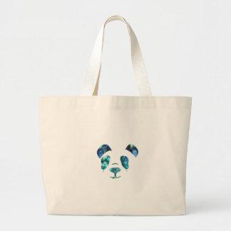 Blue Green Panda Large Tote Bag