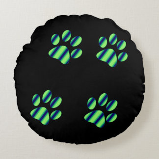 Blue Green Paw Prints Round Pillow