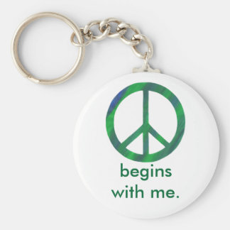 Blue Green Peace Sign, Begins With Me Key Chains