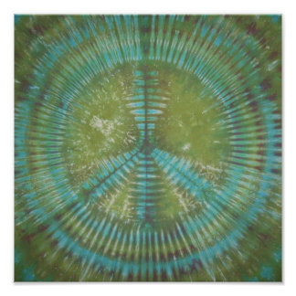 Blue Green Peace Sign Tie Dye Poster