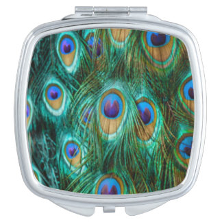 Blue Green Peacock Feathers Compact Mirror