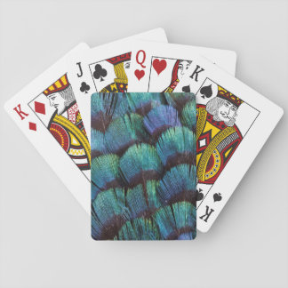 Blue-green pheasant feather design playing cards