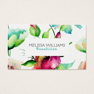 Blue green & Pink Budding Flowers Business Card