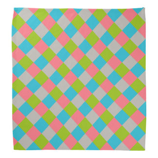 Blue Green Pink Gray Checkerboard Bandana