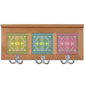Blue / Green / Pink patterns - Coat rack (2)