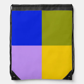 Blue, Green, Pink, Yellow Squares Drawstring Bag