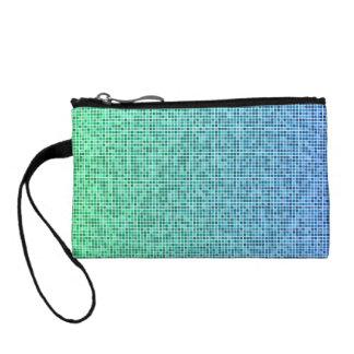 Blue green pixel design coin wallet