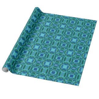 Blue Green Pixelated Geometric Wrapping Paper