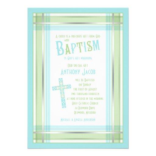 Blue Green Plaid Cross Catholic Baptism Invitation