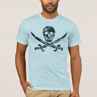 blue green plaid skull T-Shirt
