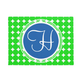 Blue & Green Polka Dot Monogram Doormat