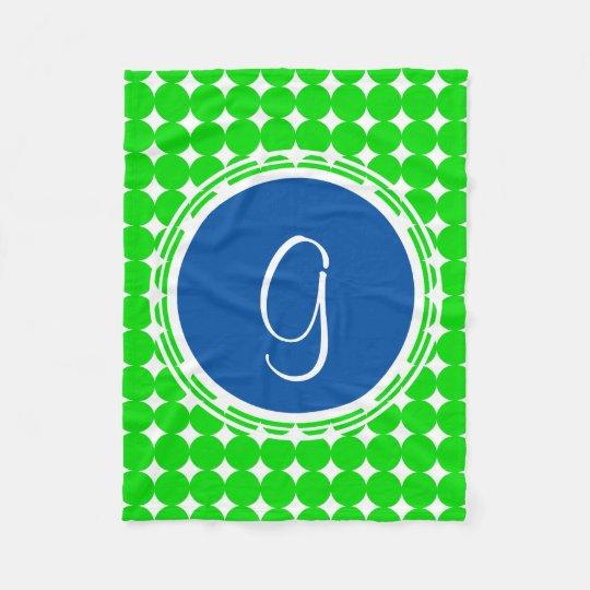 Blue & Green Polka Dot Monogram Fleece Blanket