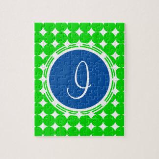 Blue & Green Polka Dot Monogram Jigsaw Puzzle