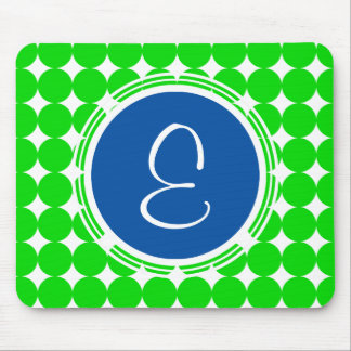 Blue & Green Polka Dot Monogram Mouse Pad